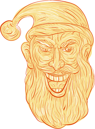 Drawing sketch style illustration of an evil looking, sinister and devilish santa claus with a wide grin viewed from front set on isolated white background