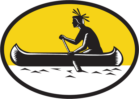 printmaking: Illustration of a native american indian paddling a canoe viewed from the side set inside oval shape done in retro woodcut style. Illustration