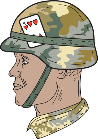 four people: Drawing sketch style illustration of an African American soldier wearing Us Army Kevlar combat helmet with camouflage cloth cover Illustration