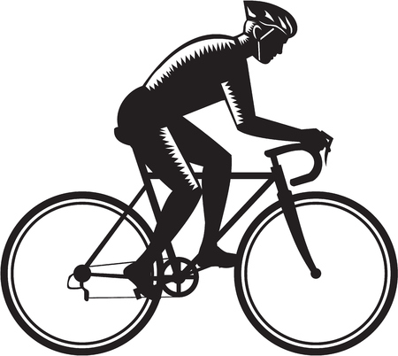 printmaking: Illustration of road cyclist wearing helmet riding bicycle cycling biking racing viewed from the side set on isolated white background done in retro woodcut style.