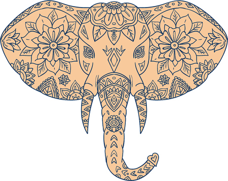 animal ear: Mandala style illustration of an elephant head viewed from front set on isolated white background. Illustration