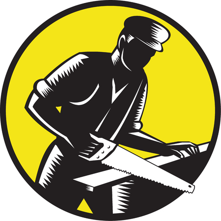 printmaking: Illustration of a 19th century carpenter builder holding wearing hat sawing wood set inside circle done in retro woodcut style. Illustration