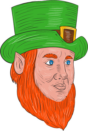 looking at view: Drawing sketch style illustration of a leprechaun head looking to the side in a three quarter view set on isolated white background.