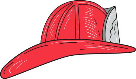 Zeichnungsskizzenart eines Weinlesefeuerwehrmann-Feuerwehrmannsturzhelms, der von der Seite angesehen wurde, stellte auf lokalisierten weißen Hintergrund ein. Vektorgrafik