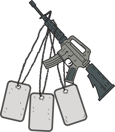 Drawing sketch style illustration of an M4, an air-cooled, direct impingement gas-operated, magazine-fed carbine used by United States Army and US Marine Corps combat units.
