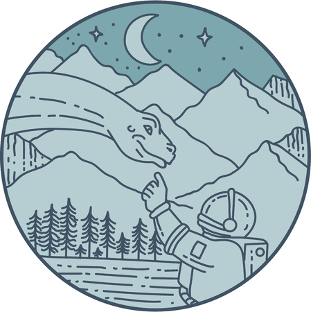 Mono line style illustration of an astronaut touching brontosaurus dinosaur head set inside circle with mountain, moon, stars and trees in the background.