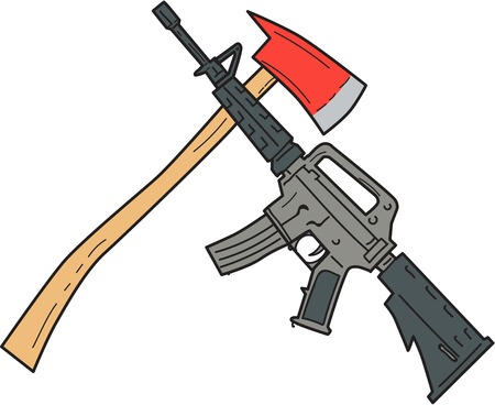 Drawing sketch style illustration of a crossed fire ax and an  M4 magazine-fed carbine rifle used by the United States Army and US Marine Corps combat units set on isolated white background.