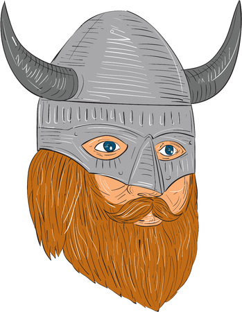 Drawing sketch style illustration of a norseman viking warrior raider barbarian head with beard wearing horned helmet looking slightly to the side set on isolated white background. Illustration