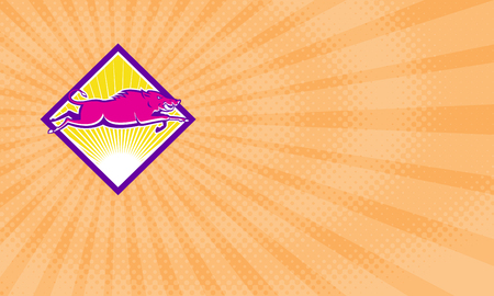 Business card showing Illustration of a wild pig boar razorback jumping done in retro style set inside diamond shape.
