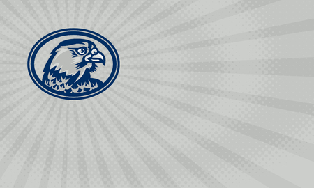 Business card showing Illustration of a falcon hawk eagle bird head looking to side set inside oval on isolated background done in retro style.