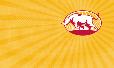 Business card showing Illustration of a rhinoceros charging side view set inside oval done in retro style.