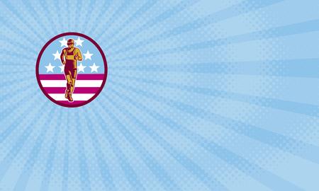 名刺でマラソン ランナーのイラストは、アメリカ国旗星条旗レトロな木版画のスタイルでバック グラウンドでの円の内側フロント セットから表示