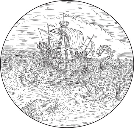 Drawing sketch style illustration of a tall ship sailing in turbulent ocean sea with serpents and sea dragons around set inside circle done in black and white. Ilustração