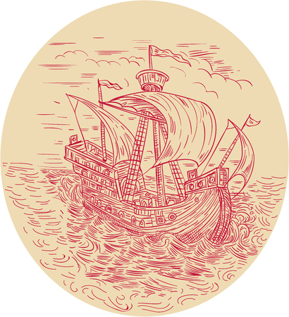 Drawing sketch style illustration of a tall ship sailing in stormy turbulent ocean sea  set inside oval shape. Illustration