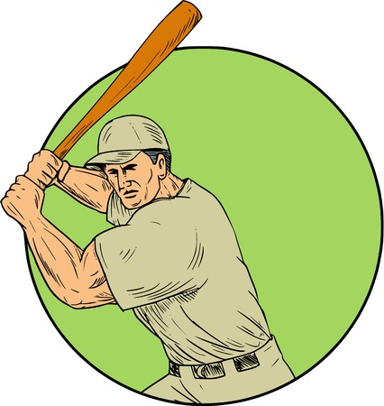Drawing sketch style illustration of an american baseball player batter hitter holding bat in batting stance viewed from front set inside circle. Stok Fotoğraf - 75306269