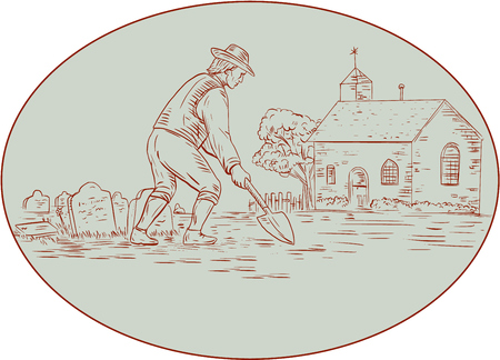 churchyard: Drawing sketch style illustration of a grave digger in the medieval times holding shovel digging viewed from the side set inside oval shape with church, tombstone and tree in the background.