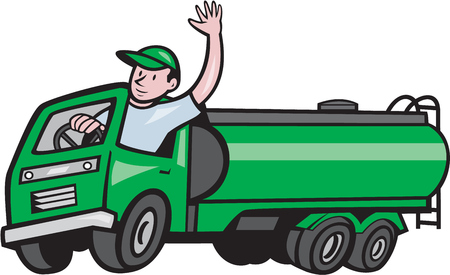 Illustration of a six 6 wheeler tanker truck petrol tanker with driver waving hello on isolated white background done in cartoon style. Imagens - 75306273