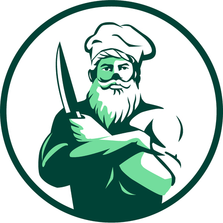Illustration of a chef cook with beard wearing chefs hat arms crossed holding knife facing front set inside circle on isolated background done in retro style. Иллюстрация