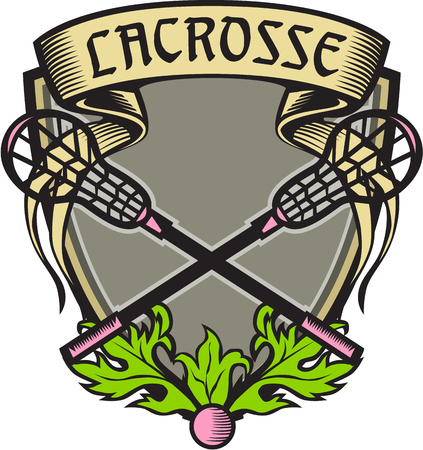 Illustration of a coat of arms with crossed lacrosse stick set inside shield crest with word text Lacrosse on top done in retro woodcut style. Illustration