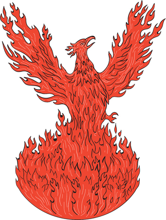 Drawing sketch style illustration of a phoenix rising up from fiery flames, wings raised for flight set on isolated white background.