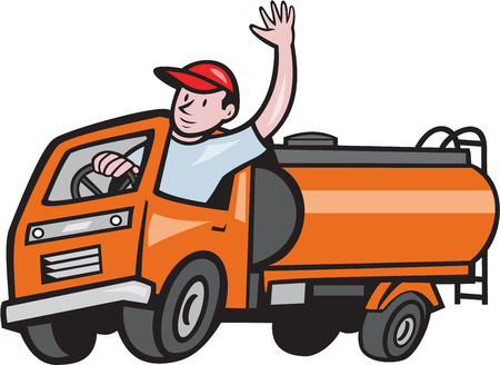 Illustration of a four 4 Wheeler tanker truck petrol tanker with driver waving hello on isolated white background done in cartoon style.