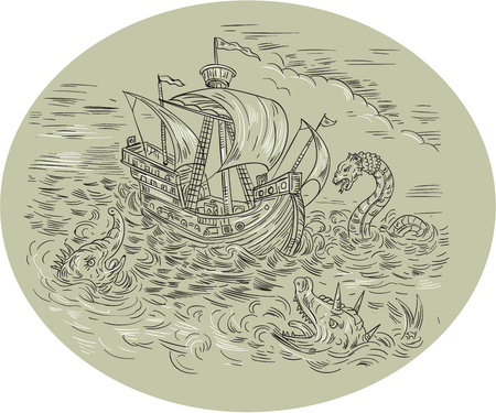 Medieval drawing sketch style illustration of a tall ship sailing in turbulent ocean sea with serpents and sea dragons around set inside oval shape. Illustration