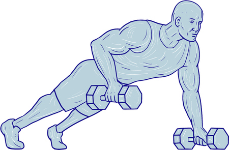 Drawing sketch style illustration of an athlete working out doing push ups with one hand holding dumbbell set on isolated white background. Stock Vector - 75306281