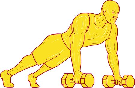 Drawing sketch style illustration of an athlete working out doing push ups with two hands holding dumbbell set on isolated white background. Illustration