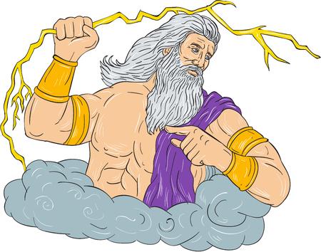 Het trekken van de illustratie van de schetsstijl van Zeus, Griekse god van de hemel en de heerser van de Olympische goden die het houden van een blikseminslagbliksem die aan de kant trekken op geïsoleerde witte achtergrond wordt geplaatst.