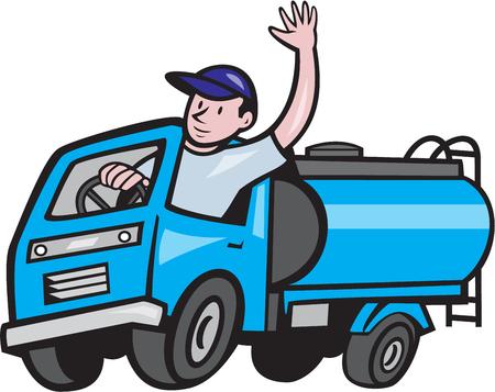 Illustration eines 4-Wheeler-Baby-Tanker-LKW-Tanker mit Fahrer winkt hallo auf weißem hintergrund isoliert im Cartoon-Stil.