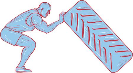 격리 된 흰색 배경에 측면에서 볼 타이어를 다시 추진하는 구부러진 무릎 밖으로 일하는 운동 선수의 스케치 스타일 그림 그리기.