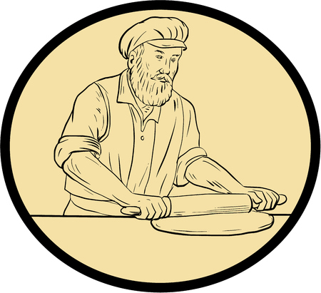 hair pins: Drawing sketch style illustration of a  baker chef cook in medieval times holding rolling pin rolling on dough viewed from front set inside oval shape with on isolated background.