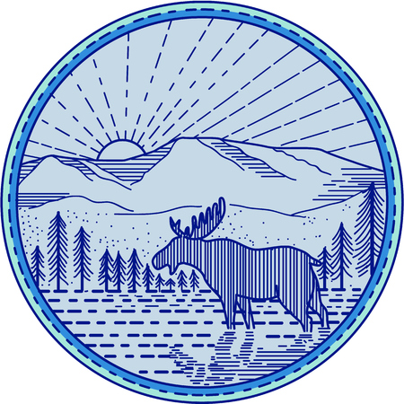 Mono line style illustration of a moose viewed from the side with river, flat mountain and sunburst in the background set inside circle.