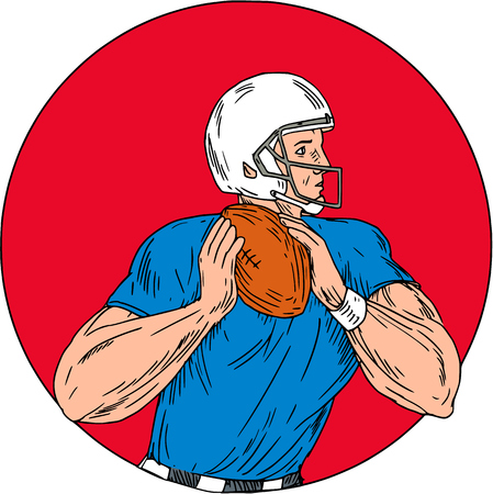 gridiron: Drawing sketch style illustration of an american football gridiron quarterback player holding ball ready to throw ball viewed from the side set inside circle on isolated background. Illustration