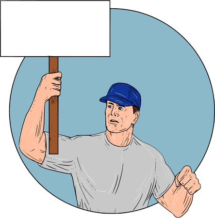 Drawing sketch style illustration of an industrial worker protester activist unionist union worker protesting striking holding up a placard sign looking to the side set inside circle on isolated background.