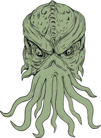 whose: Drawing sketch style illustration of a head of a subterranean mythical sea monster with octopus-like head whose face has tentacles or feeler viewed from front set on isolated white background.