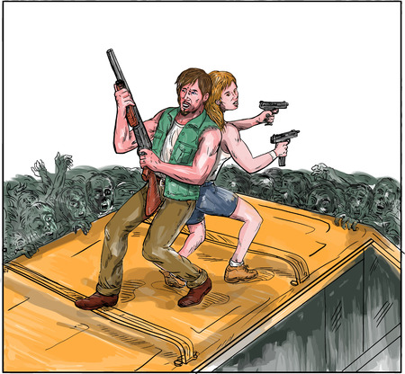 Watercolor style illustration of a man and woman on top of a van with back against each other holding gun rifle fighting zombies. Illustration