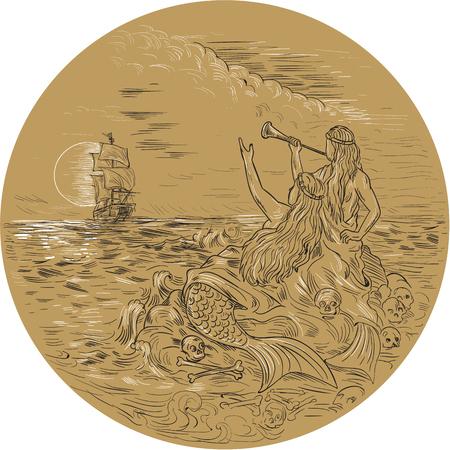 背の高い船を背景に満月の円の中に設定を呼び出すを振って島に 2 つのサイレンの図面スケッチ スタイル イラスト。 写真素材 - 75847978