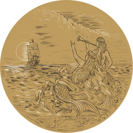 Drawing sketch style illustration of two sirens on an island waving calling a tall ship set inside circle with full moon in the background.