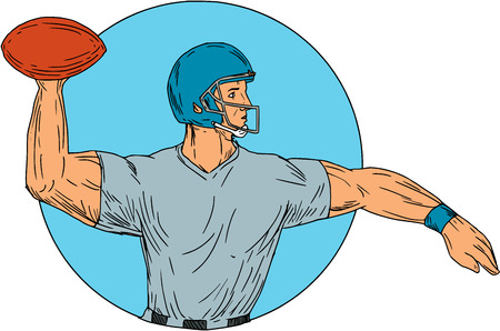 Drawing sketch style illustration of an american football gridiron quarterback player arms stretched throwing ball viewed from the side set inside circle on isolated background. Illustration