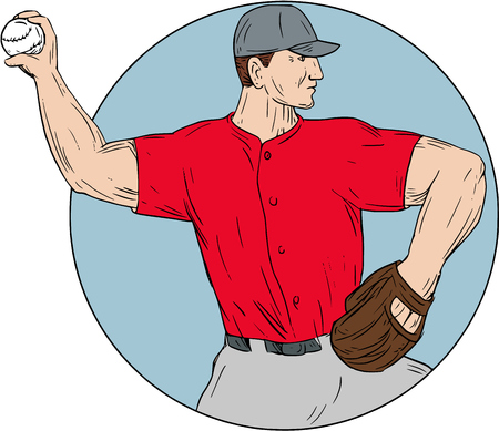 Drawing sketch style illustration of an american baseball player pitcher outfilelder throwing ball viewed from the side set inside circle on isolated background. Ilustração