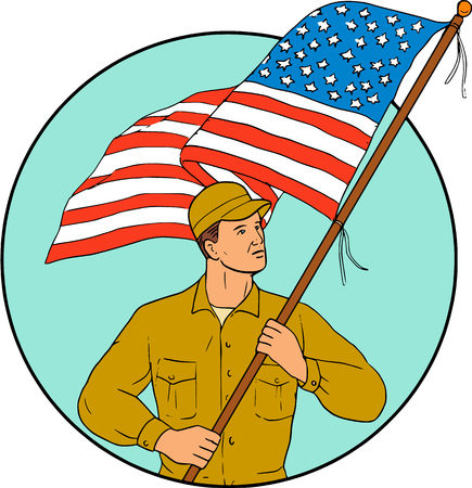serviceman: Drawing sketch style illustration of an american soldier serviceman waving holding usa flag looking to the side set inside circle on isolated background. Illustration