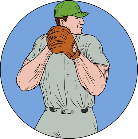 pitching: Drawing sketch style illustration of an american baseball player pitcher outfilelder getting started to throw ball viewed from the side set inside circle on isolated background. Illustration