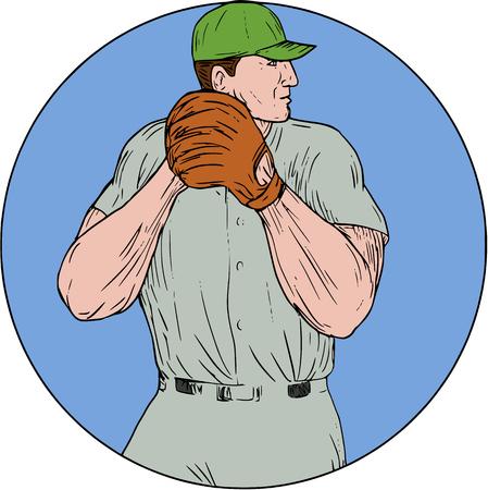 Zeichnungsskizzen-Artillustration eines amerikanischen Baseball-Spieler-Werfer outfilelder, der begonnen wird, den Ball zu werfen angesehen vom Seitensatz innerhalb des Kreises auf lokalisiertem Hintergrund. Standard-Bild - 75847984