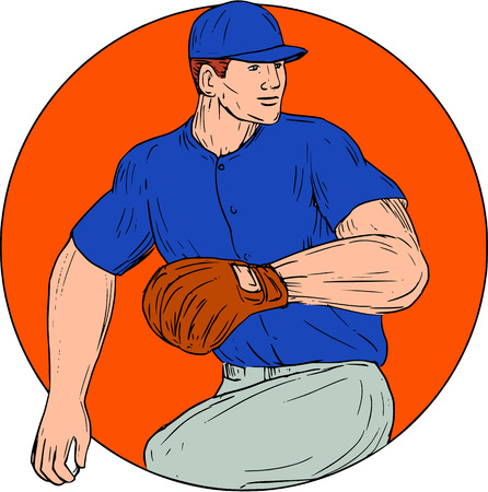 outfielder: Drawing sketch style illustration of an american baseball player pitcher outfilelder ready to throw ball viewed from the side set inside circle on isolated background.