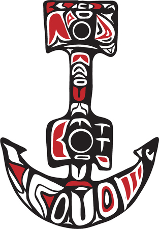 Northwest Coast art style illustration of a boat anchor set on isolated white background.