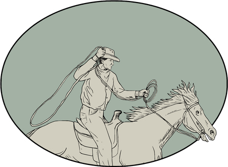 Drawing sketch style illustration of a cowboy holding lasso riding horse viewed from the side set inside oval shape. Illustration
