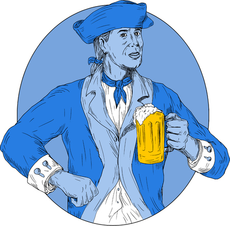 Drawing sketch style illustration of an american patriot holding beer mug toasting viewed from front set inside oval shape on isolated background.