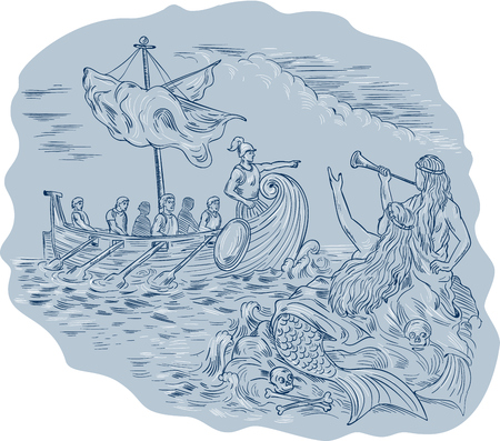 sirens: Drawing sketch style illustration of a greek tiireme navigator pointing and avoiding sirens who are waving calling at them.