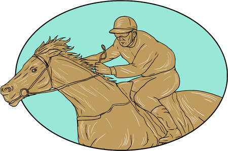 Drawing sketch style illustration of horse and jockey racing viewed from the side set inside oval shape on isolated background.
